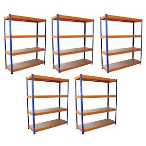 5-Estanterias-Metalicas-Acero-Inoxidable-Sin-Tornillos-Azules-Naranjas-150cm