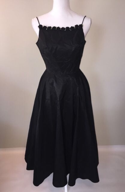 Vintage Prom Dress Black Goth Party 80s 78 Union Ebay