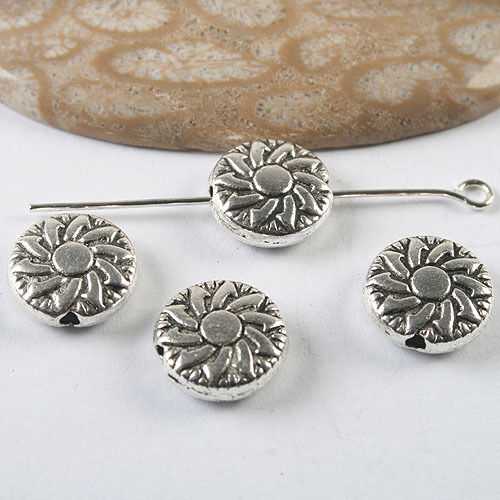 12pcs dark silver tone flower spacer bead h3499