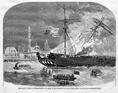 SHIP JACOB WESTERVELT ON FIRE IN NEW YORK HARBOR BOATS ROWING AND RESCUE HISTORY