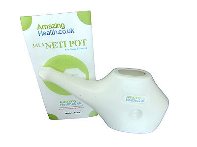 Amazing Health Neti Pot White Plastic With Guidance Leaflet Modern Design Neti Pots & Cleansers