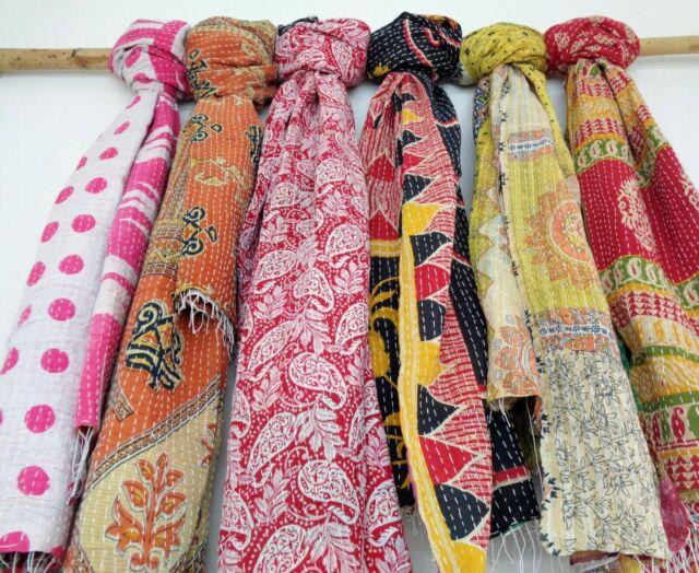 Cotton Kantha Scarf Neck Wrap Stole Dupatta Hand Quilted Women Bandanas headband