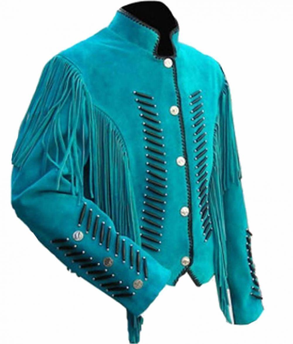 men el Cowboy blue Cuero de Gamuza Capa Vendimia Flecos y Huesos Chaqueta