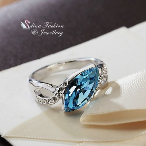 6f92ae89d 1 of 4FREE Shipping 18K White Gold Filled Made With Swarovski Crystal  Marquise-cut Crossover Ring