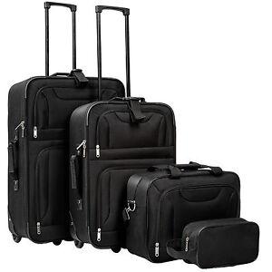 4tlg-Reisekoffer-Set-Trolley-Reisekofferset-Reisetaschen-Reisest-Stoff-schwarz