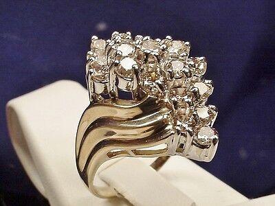 ESTATE 14K 2.00CT LT. CHAMPAGNE DIAMOND COCKTAIL RING Sz 7.25