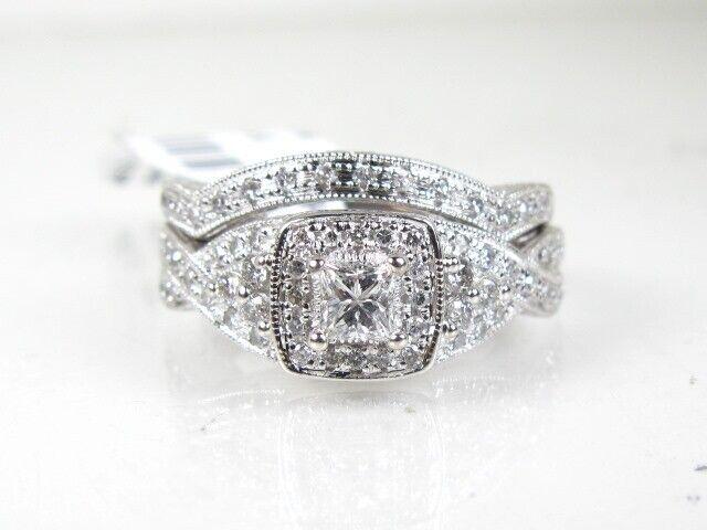 Estate 14k White gold Natural .70ctw Diamond Ladies Wedding Set 5.5g eb5174