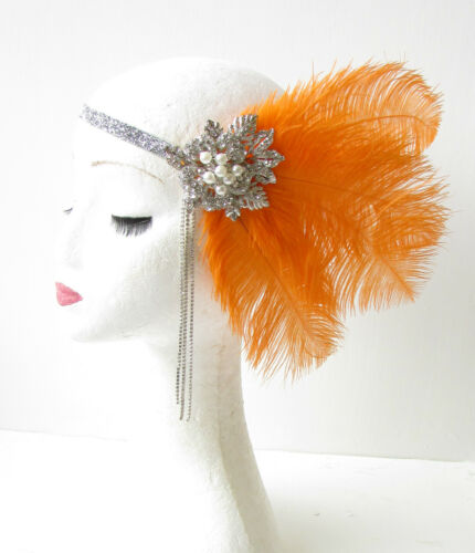 Orange Silver Feather Headpiece Vintage 1920s Flapper Headband Great Gatsby 1795