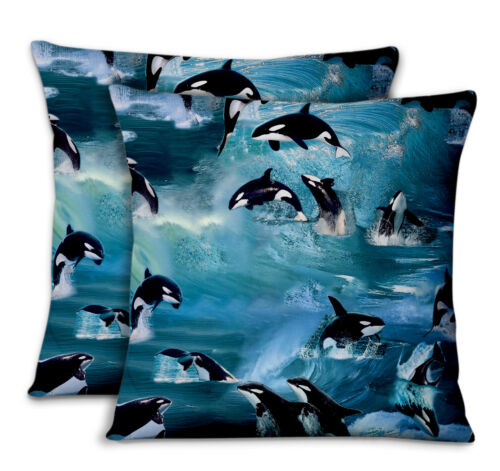 S4Sassy Dolphin Pillow Case Throw Printed Fabric Cushion Cover 2Pcs-MX-3A