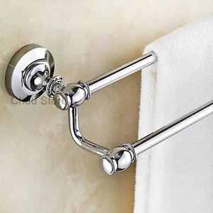 Chrome-Finish-Bathroom-Double-Pole-Towel-Rack-Wall-Mount-Hotel-Towel-Rail-Holder