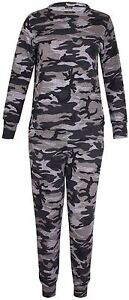 New-Womens-Plus-Size-Army-Sweatshirt-Top-Jogging-Bottom-Tracksuit-Set-16-28