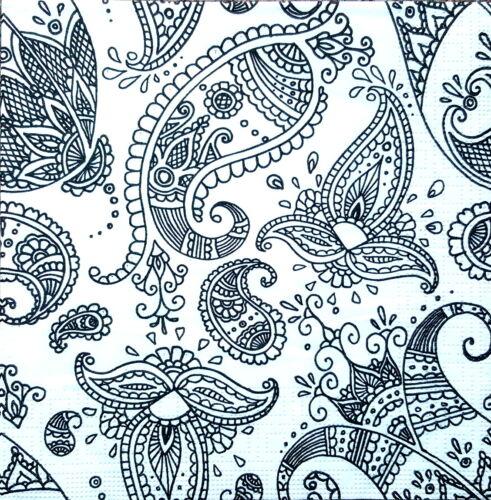 4 Vintage Paper Napkins for Decoupage Lunch Part  Black Ornaments Napkin H9