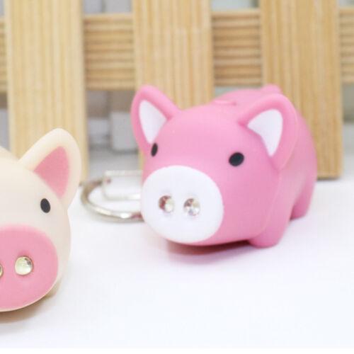 Cute Pig Shape LED Keychain with Sound Key Holder Mini Torch Flashlight Kids Toy