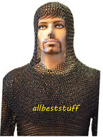 Butted Chainmail Shirt & Coif Set XL Chain Mail Hauberk & Coif Set