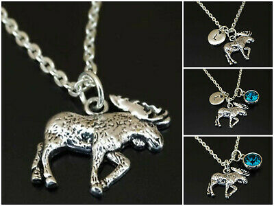 Sterling Silver Antiqued Moose Charm on a Sterling Silver Chain Necklace 16-20