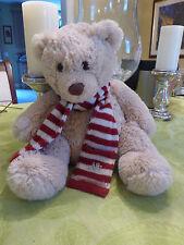 "Aeropostale Teddy Bear Plush Stuffed Animal 12"" Red White Striped Knit Scarf Toy"