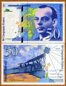 France-50-francs-1993-Pick-157b-pre-Euro-UNC-gt-Exupery-Airplane