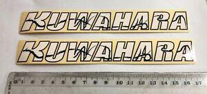 KUWAHARA-White-on-Clear-Decal-two-Old-School-BMX-Kuwarara-Bike-Works-170mm