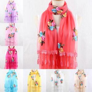 Femme-mousseline-soie-foulards-dentelle-roses-echarpe-fleur-chale-175cm-3-Cx