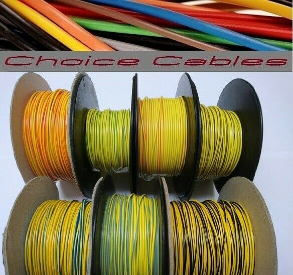 1.0MM AUTO CABLE, 12/24V THINWALL YELLOW TRACER STRIPED CAR BOAT WIRE 16.5 AMP