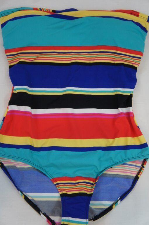 Jones New York One Piece Sz Sz Sz 14 Multi color Striped Strapless Swimwear Swimsuit ad905c