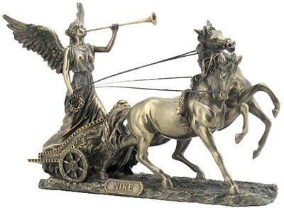 "11.25"" Inch Statue of Goddess Nike on a Chariot Horses Greek Gods Mythology"