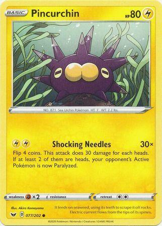 2020 Pincurchin 077//202 - NM Sword /& Shield Set Common Pokemon Card