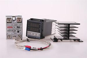 REX-C100 RKC PID Temperature Controller 220V +40A SSR +K Thermocouple WJ