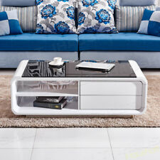 Item 4 Modern White High Gloss Coffee Table Black Tempered Gl Living Room Furniture
