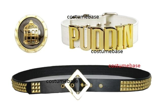 Harley Quinn BELT Suicide Squad Gold Studs Costume + Puddin Choker + Pendant