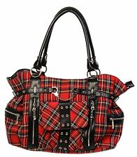 Banned Apparel Rise Up Plaid Handcuff Punk Rock Goth Tartan Handbag Purse BBN755