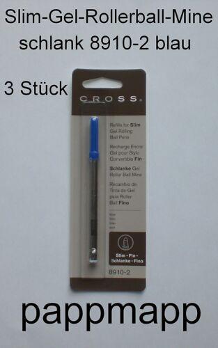 3 CROSS Slim-Gel-Rollerball-Minen 8910 schlank f Spire schwarz Click blau