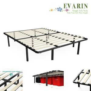 Metal Platform Bed Frame Mattress Foundation Wooden Slat