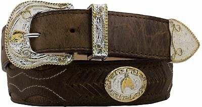Mens Concho Cowboy Belt Western Dress Overlay Studs Real Leather Brown