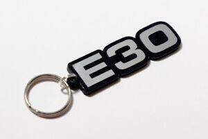 BMW-E30-3-Series-Keyring-Brushed-Chrome-Effect-Classic-Car-Keytag-Keyfob