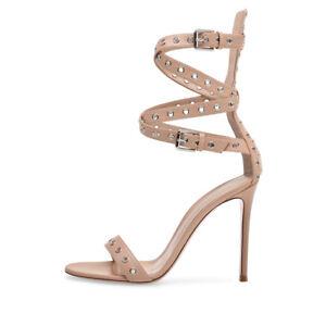 Details about Women Open Toe High Heel Grommet Ankle Wrap Sandals Summer Dress Stiletto Shoes