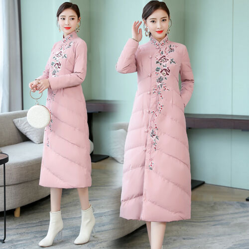 Floral Warm Long Kvinders Jacket Coat Retro Parka Outwear Cotton Kinesisk Pink PCwqtqxA