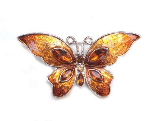 Farb-Wahl NEU BROSCHE Anstecknadel Schmetterling Emaille Modesteine//Strass