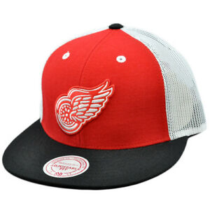 official photos f93a0 278bf Image is loading NHL-Mitchell-Ness-Mesh-Throwback-Logo-Snapback-Hat-