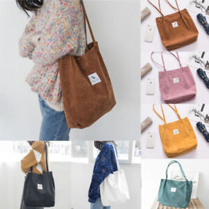 UK Fashion Women Canvas Corduroy Tote Bags Handbag Ladies Casual ... c8ceef687