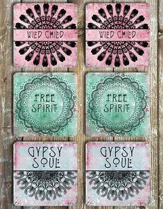 Coasters Free Spirit Gypsy Soul Wild Child Set of 6 Non Slip Neoprene