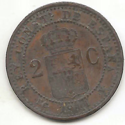 RARE SPAIN  2 CENTS 1912 ALFONSO XIII 4RW 11 FEB VF CONDITION
