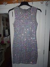 TopShop Sparkly 3D Sequin Stretch Bodycon Mini Dress Petite Beautiful Size 10