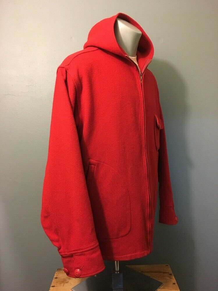 Vintage 40s 50s Woolrich Red Wool Hunting Zip-Up … - image 2