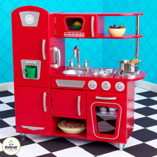 Vintage Kitchen By Kidkraft: KidKraft Wooden Red Vintage Kitchen Kids Pretend Play Fridge Cooking 53173 706943531730