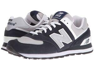NEW-BALANCE-Homme-039-M574-039-Bleu-Marine-Gris-Classique-Baskets-sz-7-5-14-D-Neuf-229772