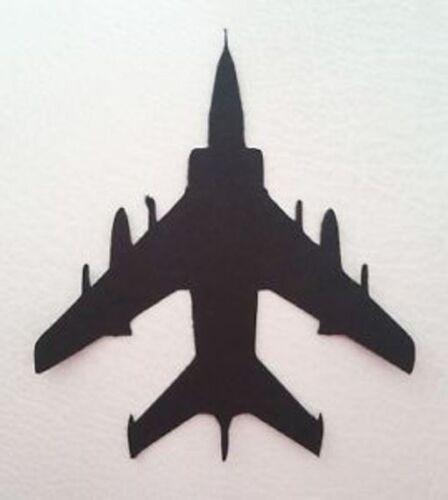 5 X avión militar Fighter Jet Plane silueta dado corta Calidad Negro Tarjeta