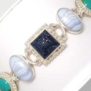 Sterling-Silver-Multi-Stone-Carved-Lapis-Turquoise-Chalcedony-MOP-Bracelet-LDA4