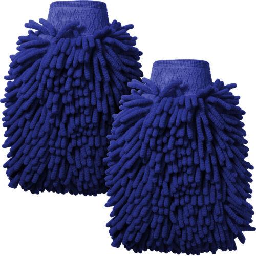 2x Azul Microfibra fideos Guante Lavado De Coches guante de esponja de doble cara súper absorbente