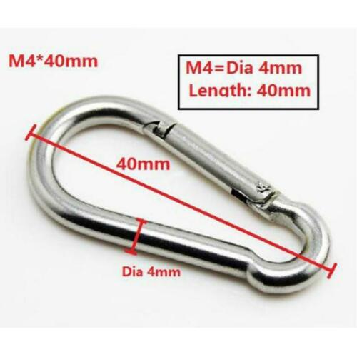 20pcs Boat Marine Clip Stainless Steel Safety Spring Hooks Carabiner M4 /& M5